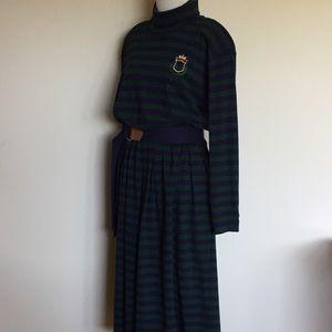 Vintage Dresses - Vintage 90s Stripe Turtleneck Long Sleeve Dress L
